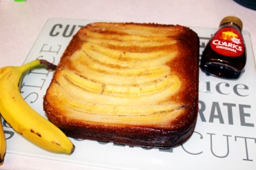 Upside down banana and maple cake