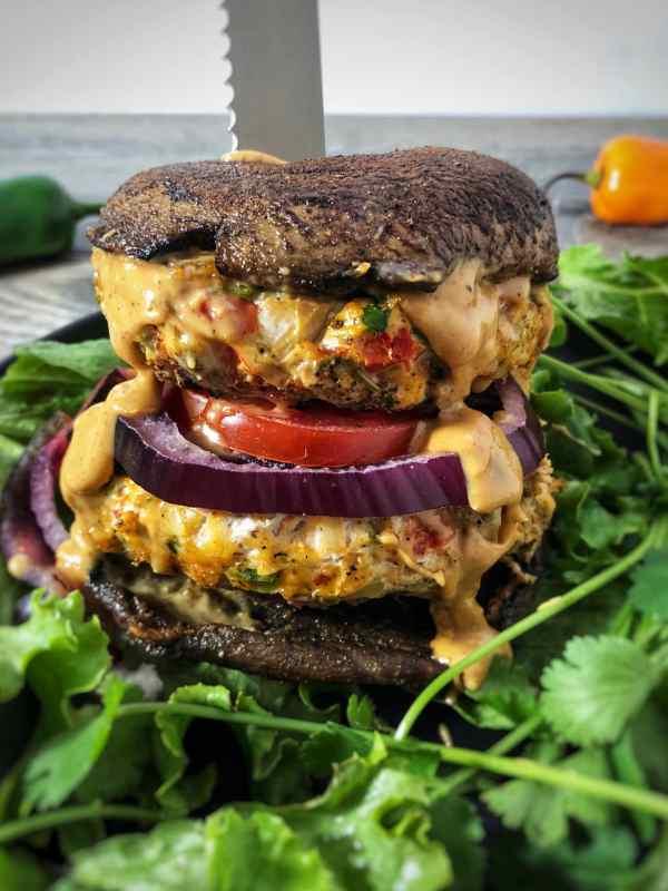 Habanero Cilantro Turkey Burgers With Portabella Mushroom Cap Buns Peanutbutteroneverything Com