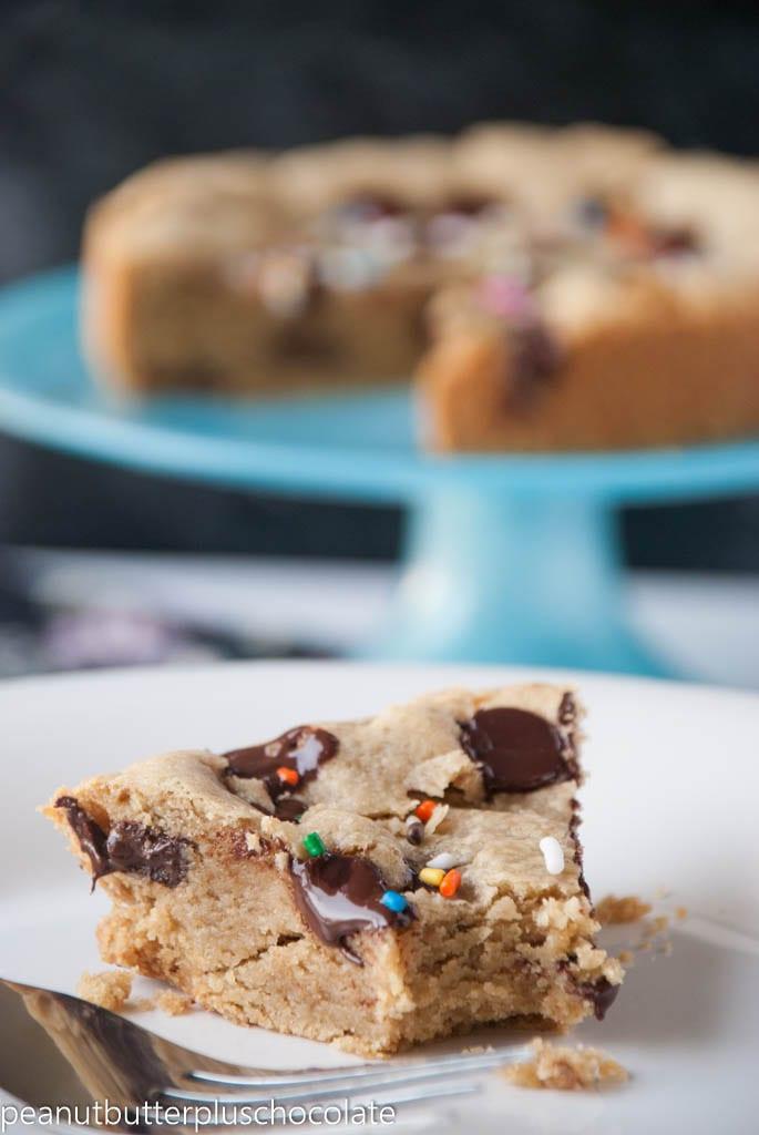 Healthy Deep Dish Chocolate Chip Cookie BIRTHDAY Cake Pie