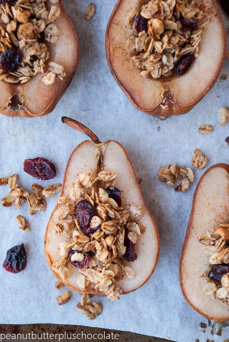 Healthy Maple Oat Nut Baked Pears with Cranberries