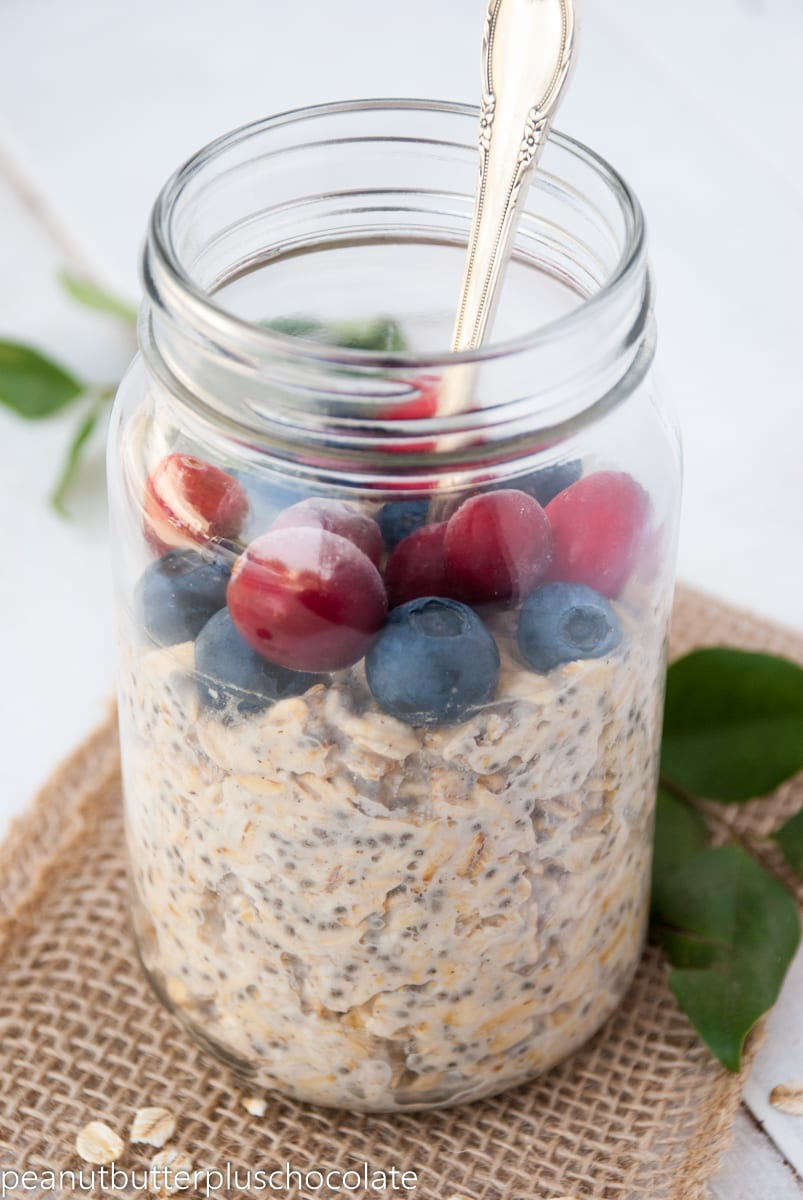 Vanilla Chia Protein Overnight Oats with Blueberries and Cranberries