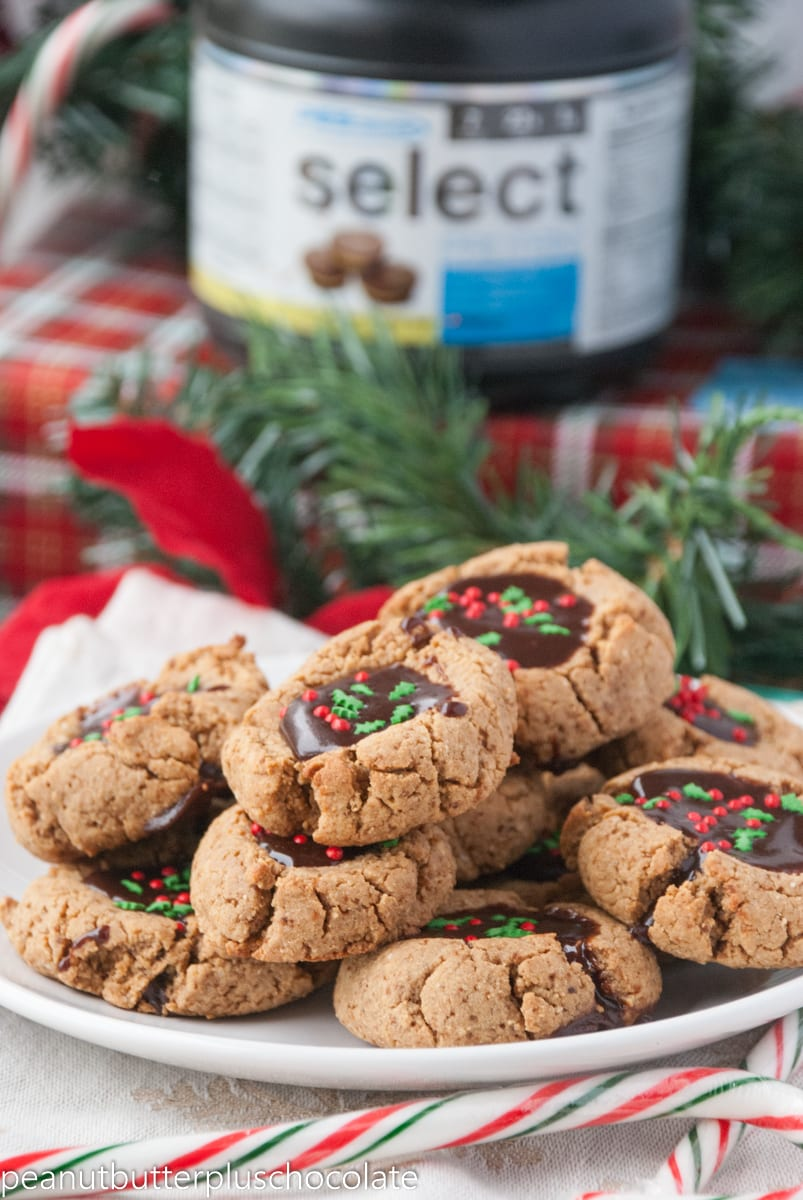 Healthy Peanut Butter Chocolate Thumbprint Cookies