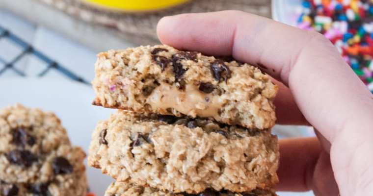 Healthy Peanut Butter Stuffed Chocolate Chip Oatmeal Cookies