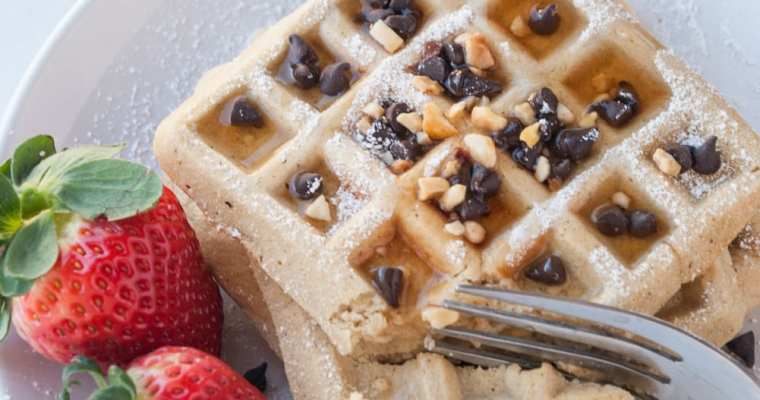 Healthy Peanut Butter Chocolate Chip Protein Waffles