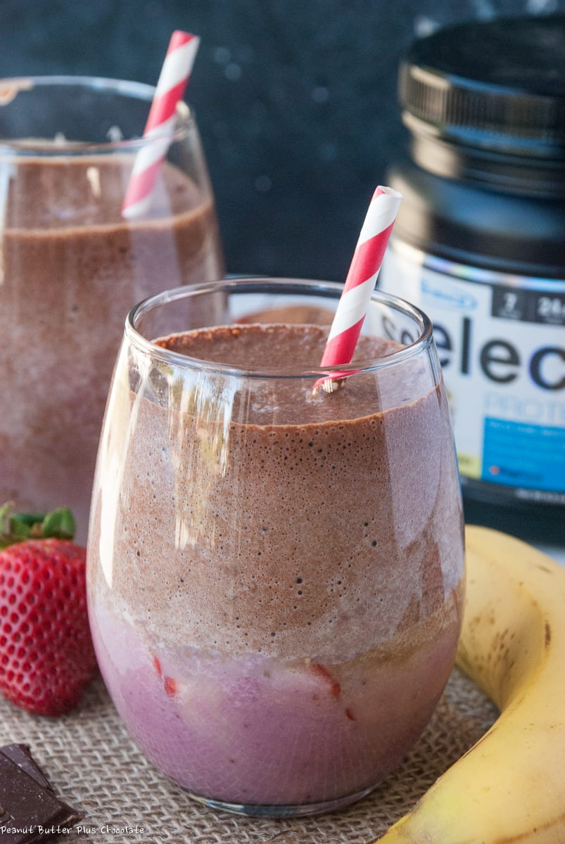 Healthy Chocolate Banana Strawberry Protein Smoothie