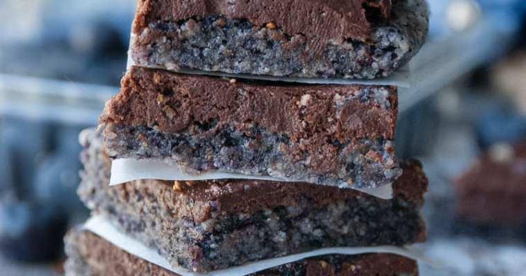 Healthy Blueberry Chocolate Fudge Bars