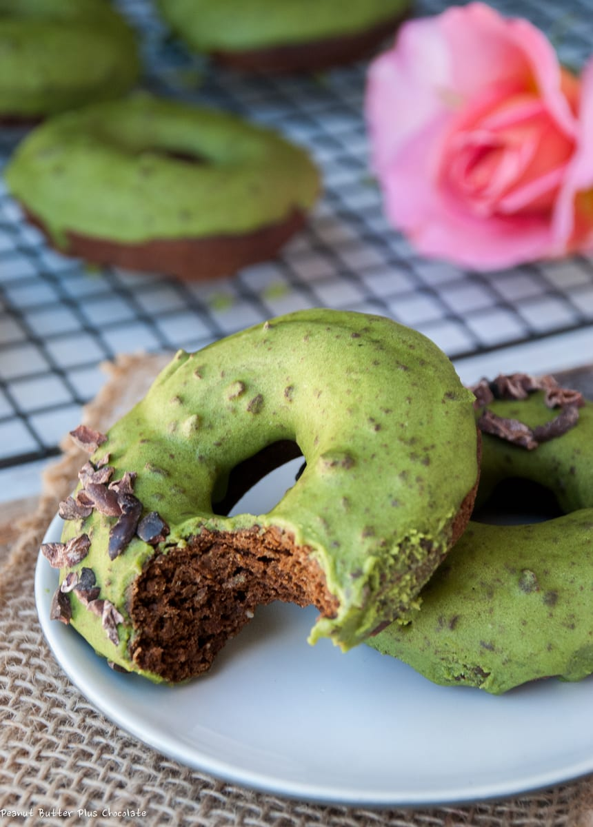 Chocolate Protein Donuts with Matcha Chocolate Chip Glaze