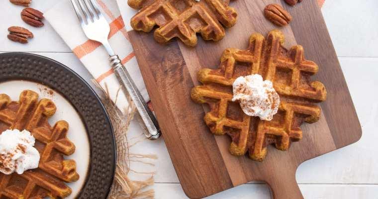 Healthy Pumpkin Spice Protein Waffles