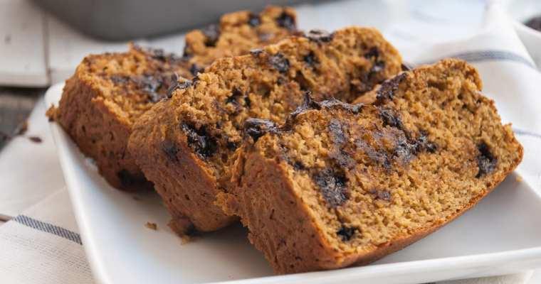Healthy Chocolate Chip Pumpkin Bread (No Oil + High Protein)