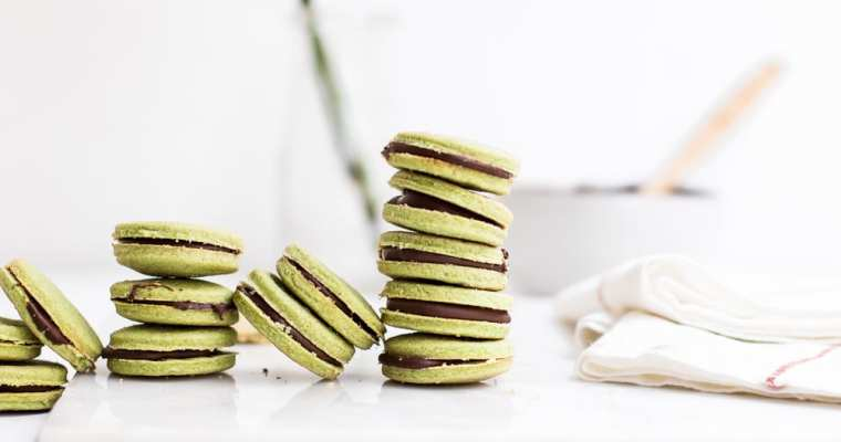 Healthy Matcha Shortbread Cookies with Chocolate Filling