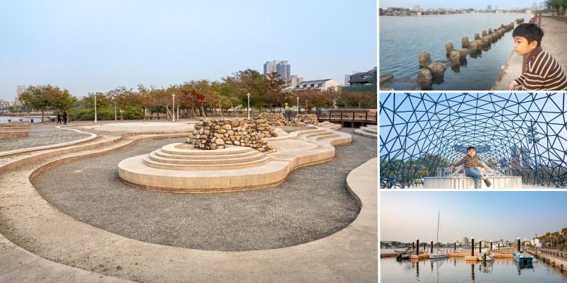 台南公園 碧海藍天的浪漫海景,安平港濱水岸公園散散步 港濱歷史公園,大魚祝福/林默娘公園/深海歷險趣