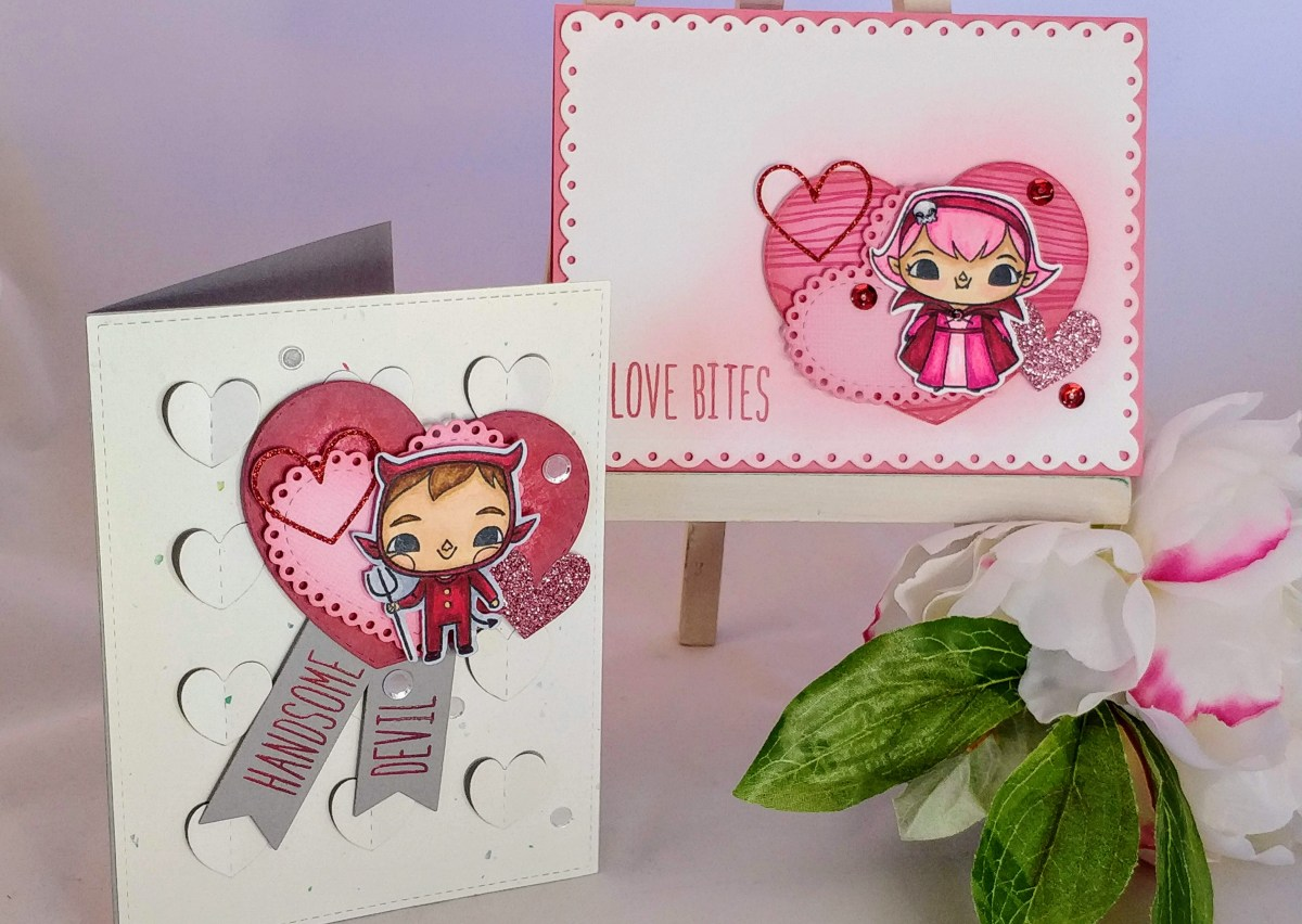 Making Valentines with Halloween Stamps