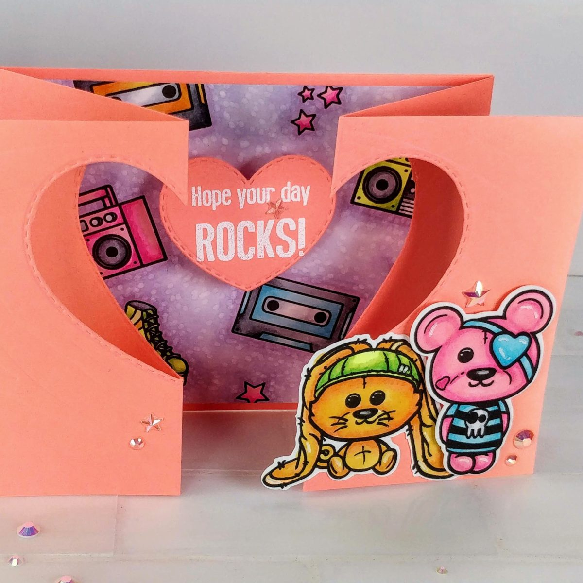 Neon Gatefold Card with a Die Cut Window