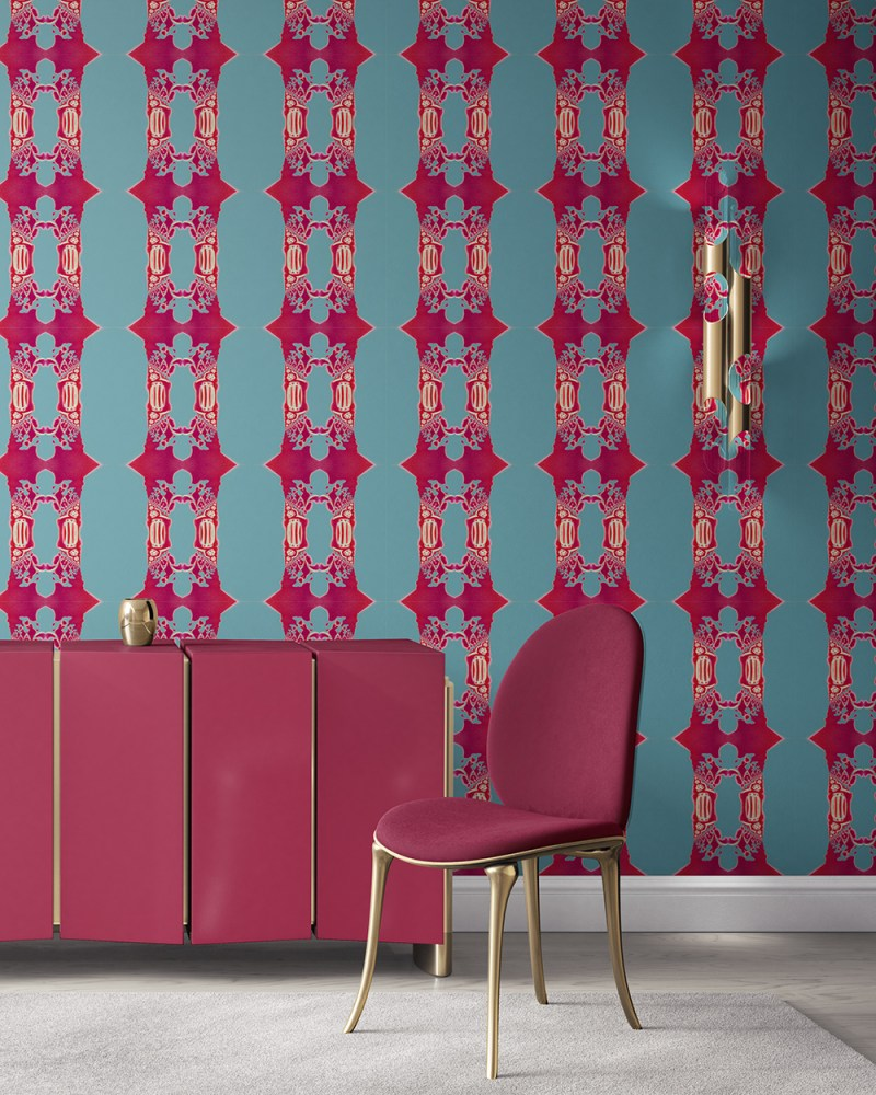 Cleve in blue, magenta and gold is an ornate, striped, colorful luxury wallpaper designed in Los Angeles. Design - Cleve by Pearl and Maude. Vellum wallpaper comes untrimmed. Standard wallpaper comes pre-pasted.