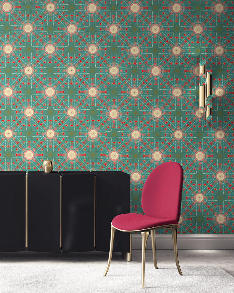 Beaufort in turquoise, coral, peach and gold is classic medallion design wallpaper designed in Los Angeles. Design - Beaufort by Pearl and Maude. Vellum wallpaper comes untrimmed. Standard wallpaper comes pre-pasted.