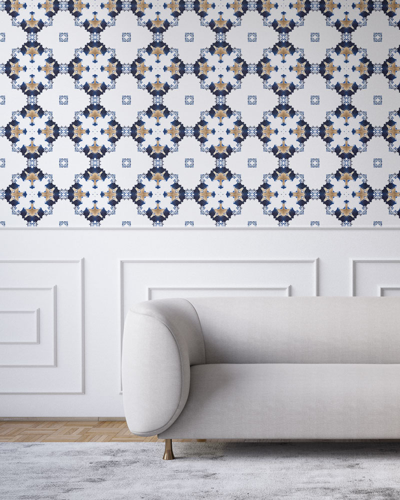 Navy blue, gold and white wallpaper designed in Los Angeles makes this sophisticated art deco interior more luxurious. Design - Eva by Pearl and Maude. Vellum wallpaper comes untrimmed. Standard wallpaper comes pre-pasted.