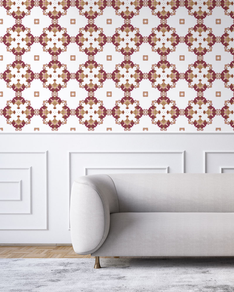 Burgundy red, gold and white wallpaper designed in Los Angeles makes this sophisticated art deco interior more fun. Design - Eva by Pearl and Maude. Vellum wallpaper comes untrimmed. Standard wallpaper comes pre-pasted.