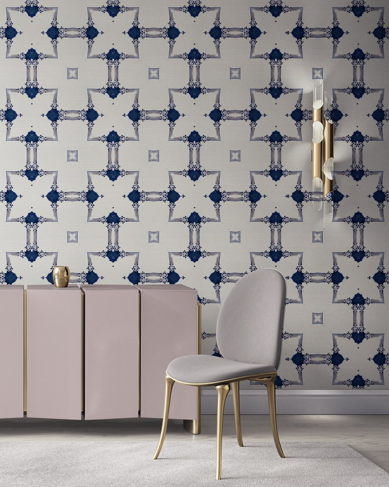 Dido is a traditional, tailored wallpaper in sapphire blue and gold on white. This lattice patterned wallpaper is perfect for traditional interior design. Design - Dido by Pearl and Maude. Grasscloth wallcovering comes untrimmed.