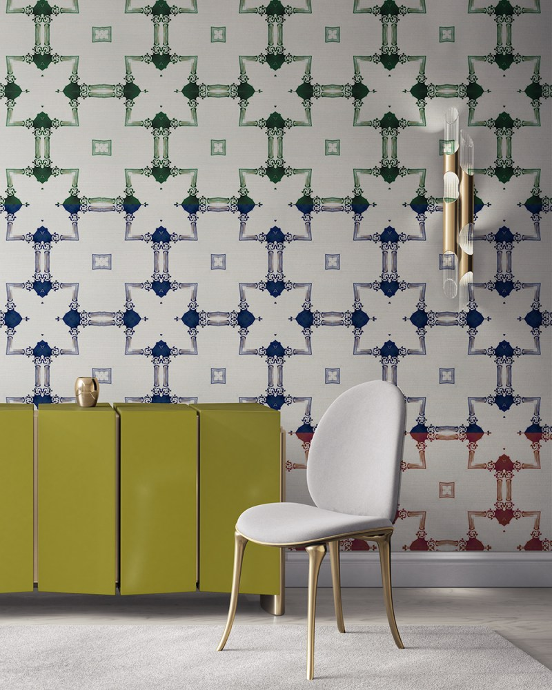 Dido is a traditional, tailored wallpaper in a blue, red and green stripe on white. This lattice patterned wallpaper is perfect for traditional interior design. Design - Dido by Pearl and Maude. Grasscloth wallcovering comes untrimmed.
