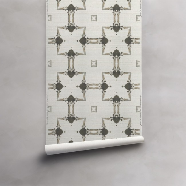 Roll of grey and taupe wallpaper on grasscloth wallcovering. Design - Dido by Pearl and Maude
