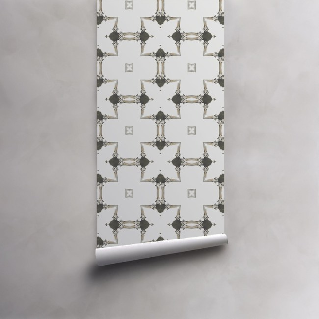 Roll of grey and white wallpaper on standard pre-pasted paper. Design - Dido by Pearl and Maude