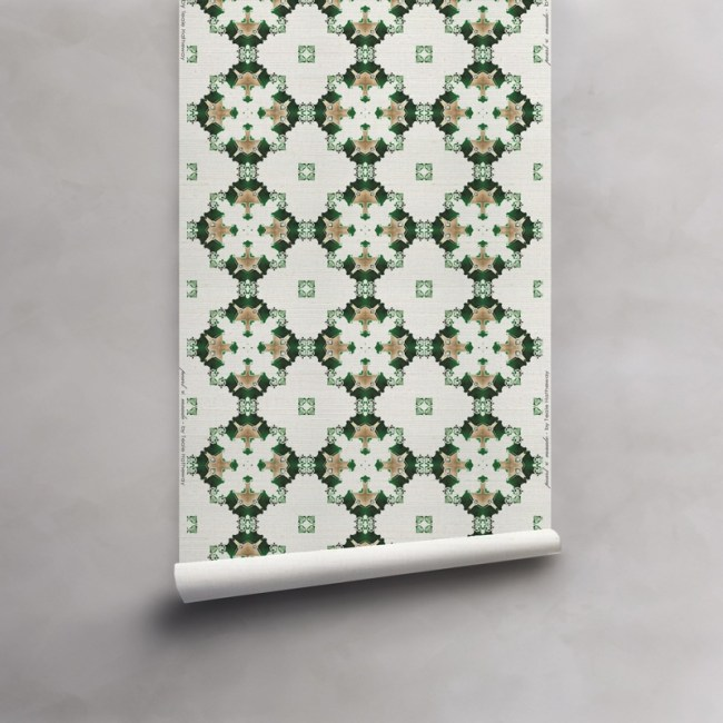 Roll of green, gold and white wallpaper on luxurious grasscloth wallcovering. Design - Eva by Pearl and Maude