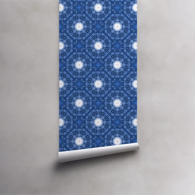 Roll of indigo blue and white wallpaper on pre-pasted paper. Design - Beaufort by Pearl and Maude