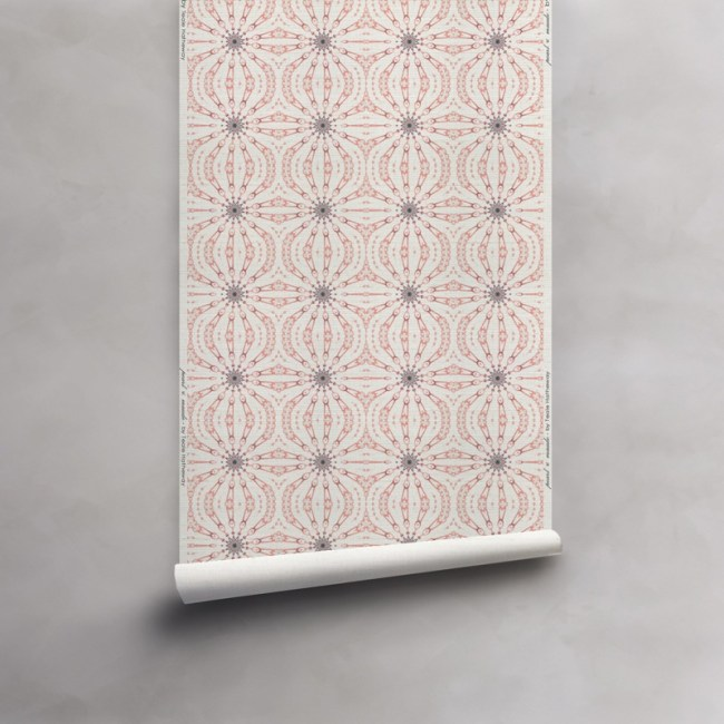 Roll of pink, grey and white wallpaper on woven grasscloth wallcovering. Design - Fern by Pearl and Maude