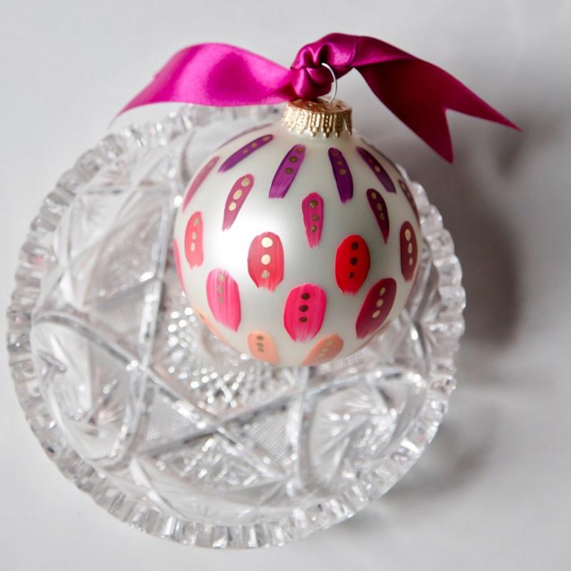 beautiful magenta hand painted christmas ornament