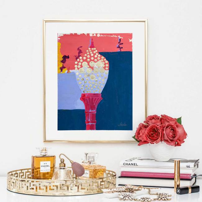 Mystery Light pink blue magenta and gold, hand embellished print by Teale Hatheway. Framed and installed in a ladies bedroom.