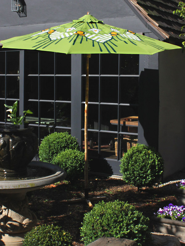 Custom Garden Umbrella in Lime green, blue and white by Pearl and Maude
