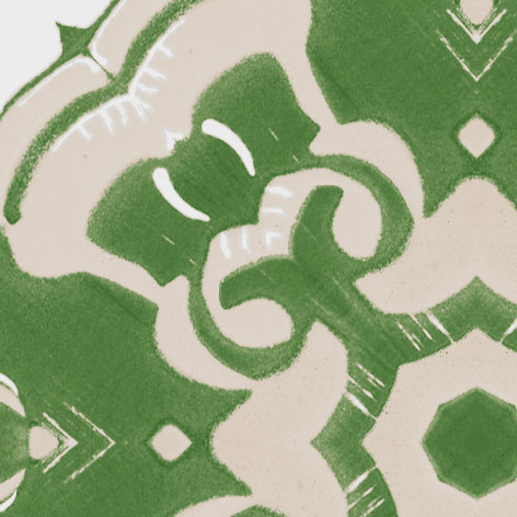 A detail swatch of Pearl & Maude's medallion pattern Alexandria in moss green, cream and white