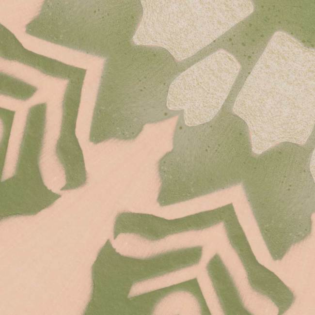 A detail swatch of Pearl & Maude's tropical botanical wallpaper in light clay pink and grey