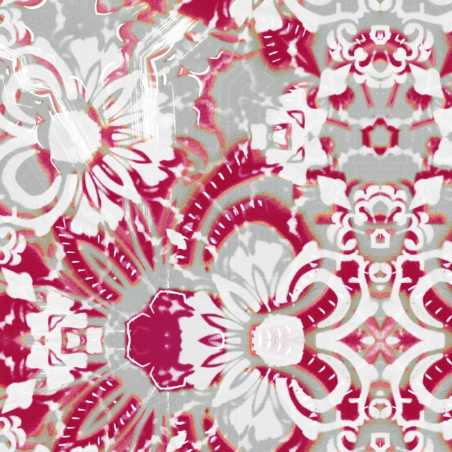 A detail swatch of Pearl & Maude's abstract floral Carmen vellum wallpaper in berry pink and grey