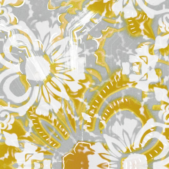A detail swatch of Pearl & Maude's abstract floral Carmen vellum wallpaper in daisy yellow and grey
