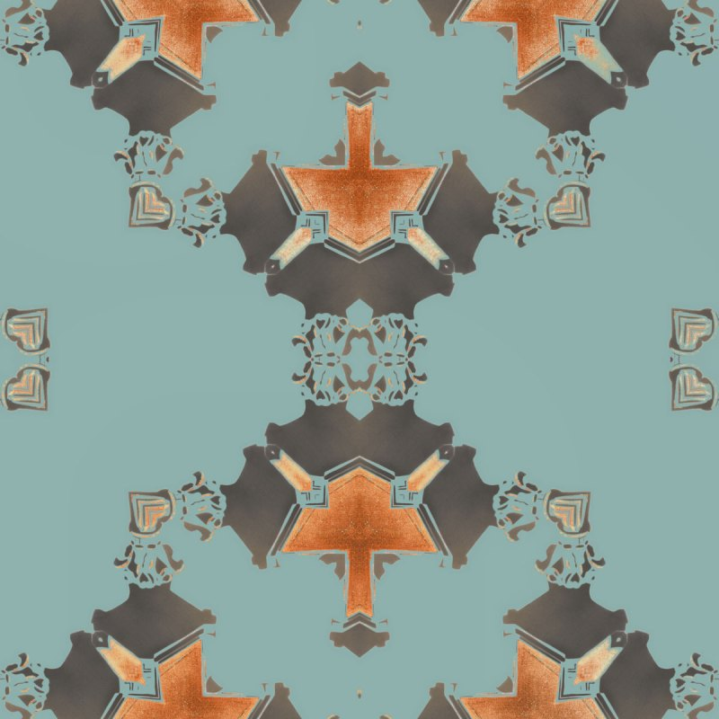 Eva is a square, blue and grey art print. The design was inspired by Art Deco architecture.