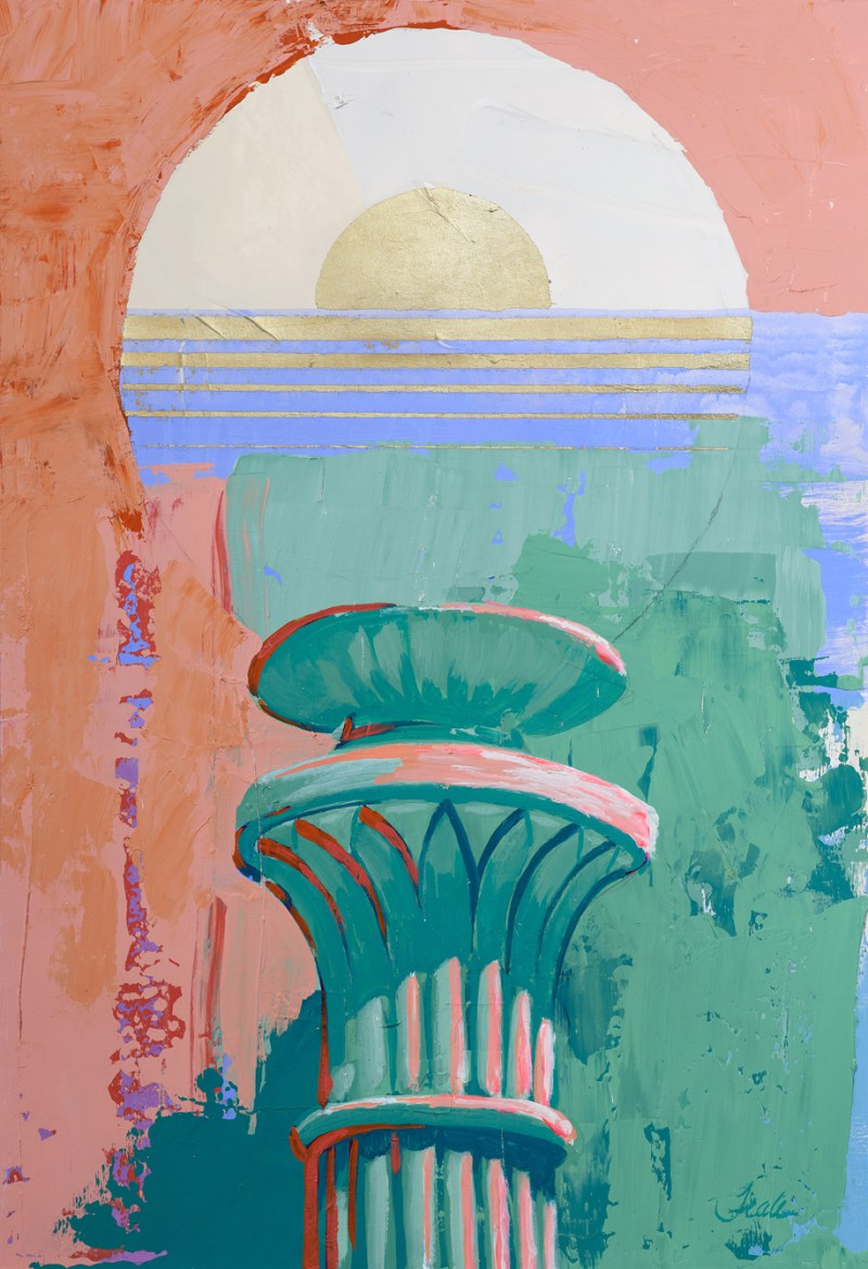 Original painting of a globe shaped street light against fields of blue, green and pink. The light emanates a glow through the application of gold leaf, revealing itself as an ocean sunset.