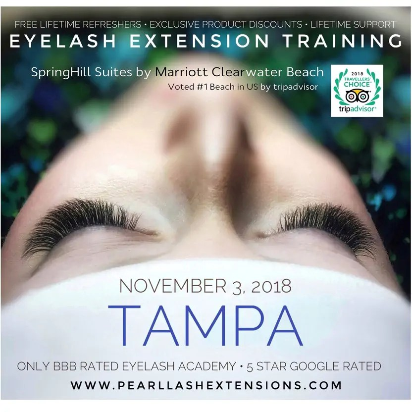 Tampa Eyelash Extension Classic Training Class November 3 Pearl Lash