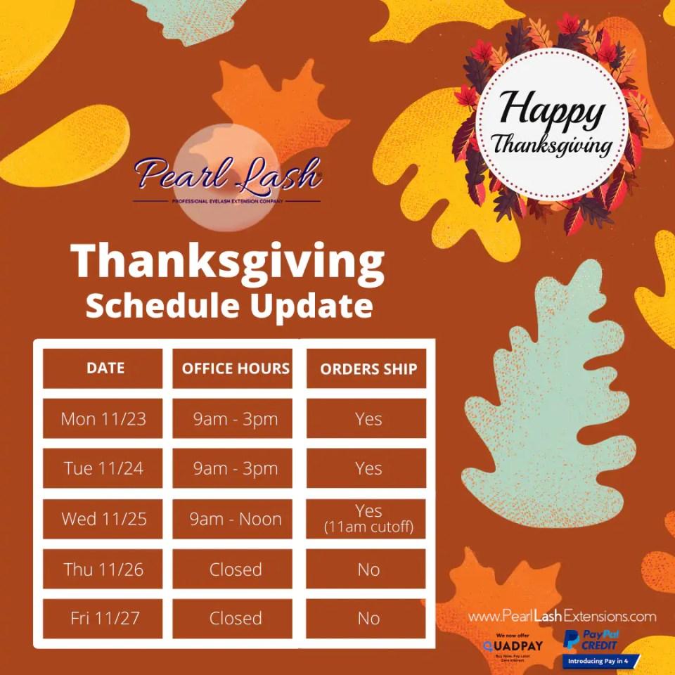 Thanksgiving Schedule Update 2020