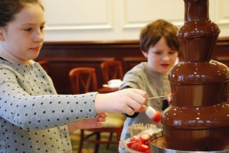 A chocolate fountain is like waking up and finding yourself in the middle of Willy Wonka's chocolate factory.