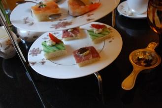 Cucumber tea sandwich and prosciutto tea sandwich.