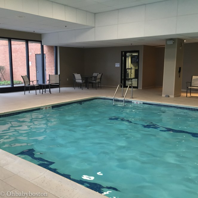 The pool is spacious and there is a gym and full locker room just off the pool area.