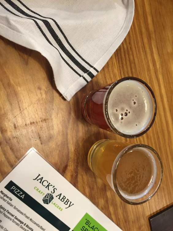 Tasting a couple of beers at Jack's Abbey Brewery in Framingham.