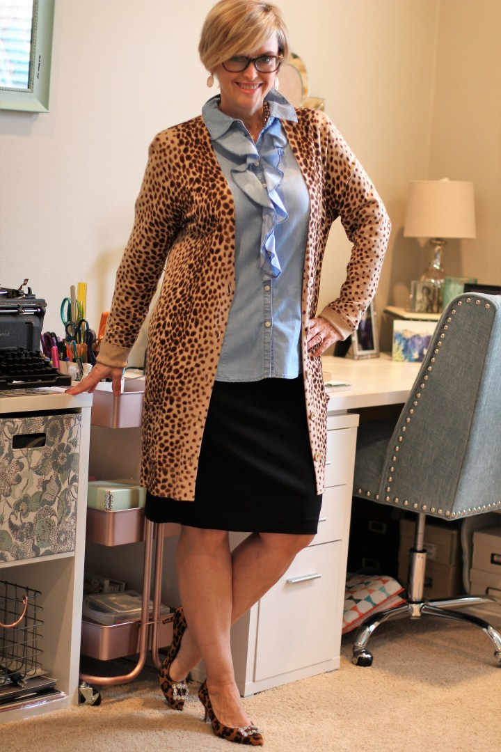 Leopard cardigan, chambray top and skirt for work