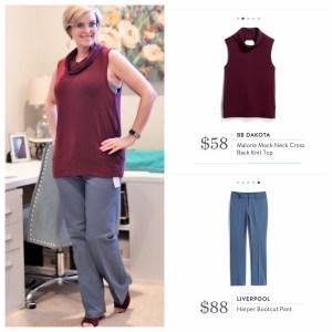 Stitch Fix BB Dakota Mock Neck Cross Back Knit Top & Harper Bootcut Pant