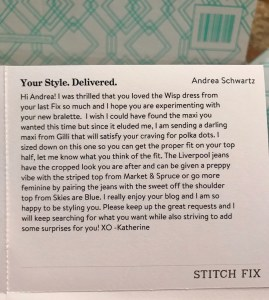 Stitch Fix Stylist's Note