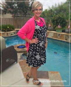 Black Dress | Hot Pink Cardigan | Pink Necklace