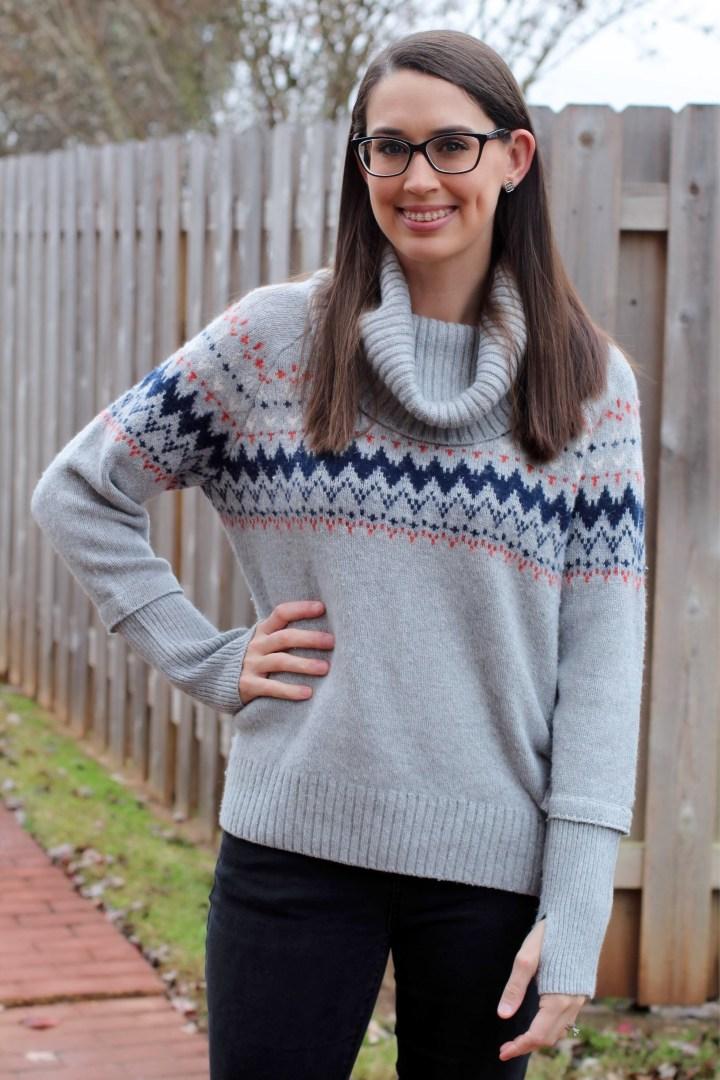 Market & Spruce Fairisle Cowl Neck Pullover