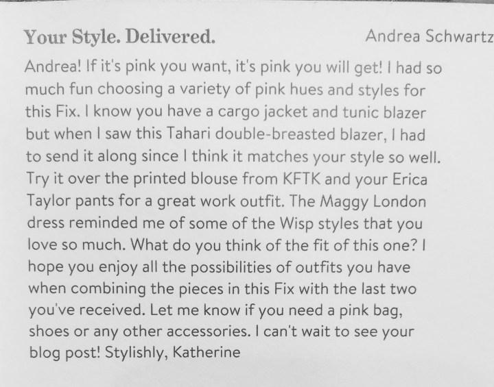 Note from Stitch Fix Stylist