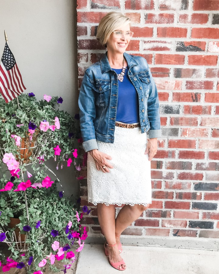 Denim Jacket with Lace Skirt